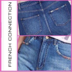French Connection Frayed Denim Shorts Size 6 NWT